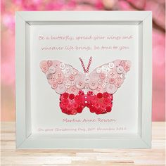 Personalised Butterfly Button Picture - Spread your Wings
