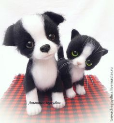 Toy animals, handmade.  Fair Masters - handmade felted kitten and puppy and Lapushka Lapushok .. Handmade.