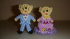 """A couple going on a date - Using """"3mm Candy Beads"""", originally from a Chinese beading book.    This is a book with lots of different teddy bears. I've only made a few, there are still more to make!"""