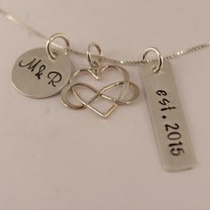 Bridal Necklace, Bride and Groom Initials and Year, Sterling Silver, Personalized Charm Necklace
