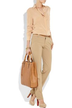 Neutral shades - Christian Louboutin shoes, Chloé top and pants, Chloé caramel leather tote, Oscar de la Renta bracelet