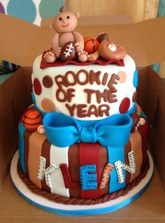 Rookie of the year; sports theme baby shower cake