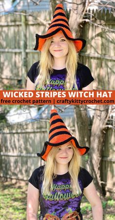 Brew up some fun this Halloween with this adorable Wicked Stripes Witch Hat!  If you're looking for costume ideas and want a fun, fast, and easy DIY, then this crochet pattern is for you.  Beginners and experienced crocheters alike can enjoy making this fun costume accessory!  With both Kids and Adult sizes included, and so many options to color-customize, add embellishments, etc., this hat is just what you need to complete the costumes for all the witches in your life this year! #crochet Halloween Crochet Patterns, Easy Crochet Patterns, Crochet Designs, Crochet Ideas, Hat Patterns, Crochet Fall, Free Crochet, Beginner Crochet, Crochet Gifts