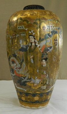 Japanese Satsuma Porcelain incense burner with gods, signed