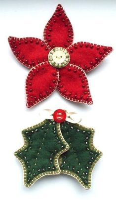 Poinsettia and holly leaf felt Christmas ornaments Felt Christmas Decorations, Felt Christmas Ornaments, Christmas Fun, Beaded Ornaments, Box Decorations, Crochet Ornaments, Christmas Poinsettia, Crochet Snowflakes, Diy Ornaments
