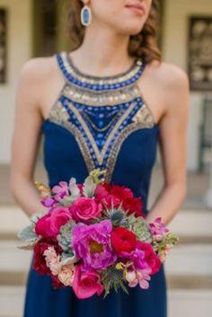 Blue Off-The-Shoulder Long Tulle Overskirt Bridesmaid Dress