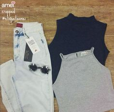 Cropped para uma hot pants destroyed  #lojaamei #etiquetaamei #Cropped #oculos #jeans #destroyed