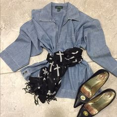 Chambray Ralph Lauren too This Jean top by RALPH LAREN POLO, is rare piece I have not seen many.. It's a pullover, deep V with collar, long sleeve, adjustable side closure Chambray color top.. Ralph Lauren Tops Tunics