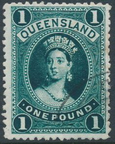 AUSTRALIA / QLD – 1886 £1 deep green Large Chalon, thick paper, CTO – SG # 161 Rare Stamps, Vintage Stamps, Federation Of Australia, First Day Covers, Fauna, Great Britain, Ephemera, Coins, Poster