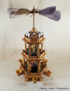 Weihnachts Pyramide ~ Vintage ~ German Style Christmas Decor ~ 1970's ~ 3 Tier Windmill Pyramid ~ Nativity Carousel ~ Penny Lane Treasures by PennyLaneTreasures on Etsy