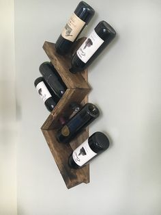 Zig Zag Wine Rack Z or W Rustic Wood Wine Bottle Display