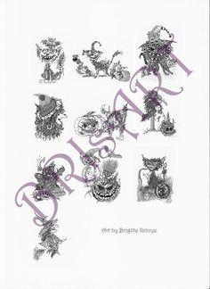 """MALBUCH coloring Zentangles ZENZIA """"HALLOWEEN"""" 10 Seiten inkl. Deckblatt - Deutsche Version von brisartbri auf Etsy"""