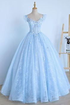 Light Blue Lace Cap Sleeve Long Sweet 16 Prom Dress, Evening Dress, Shop plus-sized prom dresses for curvy figures and plus-size party dresses. Ball gowns for prom in plus sizes and short plus-sized prom dresses for Cute Prom Dresses, Trendy Dresses, Ball Dresses, Evening Dresses, Dress Prom, Light Blue Prom Dresses, Sweet 16 Dresses Blue, Light Blue Quinceanera Dresses, Winter Dresses