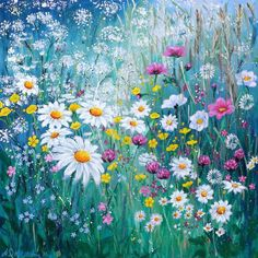 FLOWERSCAPE NO. 2 With Cow Parsley, Buttercups, Ox Eye Daisies, Cosmos, Clover and Forget-me-nots. Signed mounted Giclee Print. Artwork Size: 40cm (w) x 40cm (h) including mount. Aperture size (of print) 28 cm (w) x 28 cm (h) Other sizes available upon request- please use the contact form with your requirements.