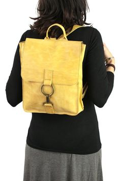 3e2372386aa Lemon Yellow Leather Backpack-Woman Leather Bag-Women  Messenger-Bagpack-Women bags