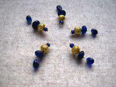 5 Maschenmarkierer, Perlen Blau-Gold, Stitchmarker