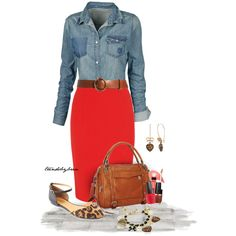 Love this.  I would never have thought to put such a casual shirt with a red pencil skirt.  Adorable.
