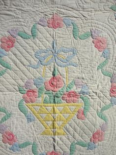Rags Think Spring Very Pretty Unusual Pattern Floral Applique 1930's Quilt | eBay