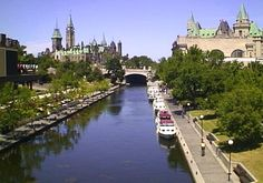 Rideau Canal with Parliament Buildings and Chateau Laurier Hotel in distance, Ottawa ON Ottawa Canada, O Canada, Ottawa Ontario, Places To See, Places Ive Been, World View, Countries Of The World, Wonderful Places, Tourism