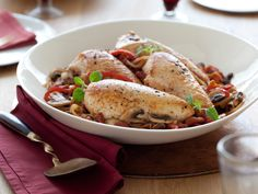 Chicken Cacciatore Recipe : Ellie Krieger : Food Network - FoodNetwork.com.... only 302 calories per serving.  Try it with low cal polenta