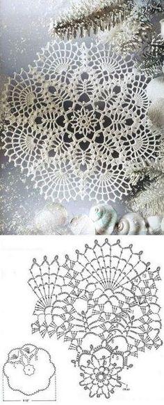 New Crochet Doilies Chart Ganchillo 53 Ideas Crochet Doily Diagram, Crochet Doily Patterns, Thread Crochet, Crochet Motif, Crochet Designs, Crochet Lace, Crochet Stitches, Crochet Chart, Knitting Patterns