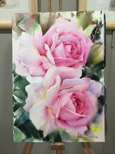 14 ideas en pintura, acuarela y arte . Watercolor Rose, Watercolour Painting, Watercolors, China Painting, Arte Floral, Large Flowers, Vintage Flowers, Pink Roses, Flower Art