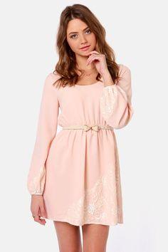 Pretty Peach Dress - Long Sleeve Dress - Lace Dress - $64.00