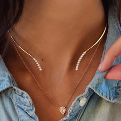 14kt gold and diamond bezel wire choker – Luna Skye by Samantha Conn