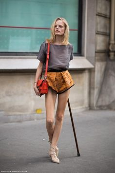 Hanne Gaby Odiele wearing a Proenza Schouler bag and Valentino Sandals…