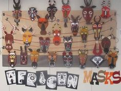 African Masks elementary art education paper sculpture 3d lesson project by dina