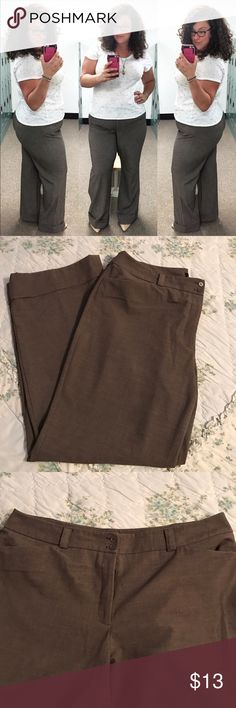 """Wide leg cuffed trouser Lane Bryant size 20 Tall brown wide leg trouser with wide cuff. I am 5'10"""" and wearing these with 3"""" heels in the first photo for height reference. Flat front. Very figure flattering and comfortable pant. Lane Bryant Pants Wide Leg"""