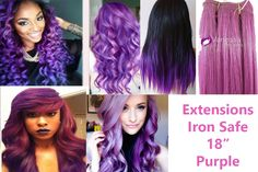 Hair Extensions fantasy color Purple Iron Safe 18″