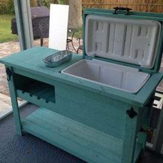 Outdoor Rustic Wooden Cooler Bar, Serving or Console Table, Bar Cart or Mini Fridge Bar Cabinet and Patio Furniture - Diy zuhause - Outdoor Kitchen Ideas Diy Outdoor Furniture, Repurposed Furniture, Furniture Projects, Furniture Makeover, Diy Furniture, Furniture Plans, Antique Furniture, Wood Projects, Modern Furniture
