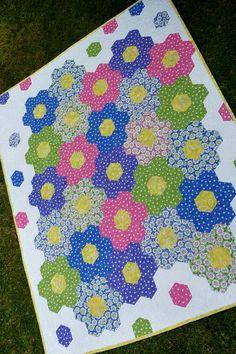 Childrens Patchwork Geomegric Hexagon Quilt - Baby Toddler Tween Girl - Pink Purple Green Blue Yellow White - Handmade Contemporary Decor