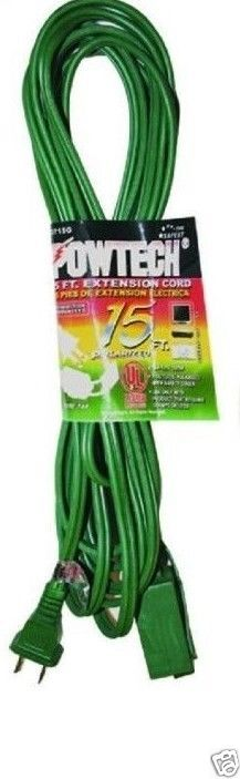 POWER EXTENSION CORD INDOOR 16 GAUGE UL LISTED - 3 OUTLET - 15 FEET CORD #POWERTECH