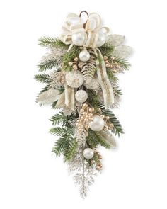 Pearl and Gold Teardrop SwagAdd to your home or office with a lifelike Pearl & Gold Elegance Artificial Holiday Teardrop from Petals.Pine and cedar glisten with crystal highlights on an elegant pearl and gold teardrop at Petals. Christmas Swags, Burlap Christmas, Christmas Mantels, Silver Christmas, Holiday Wreaths, Christmas Holidays, Country Christmas, Primitive Christmas, Christmas Crafts