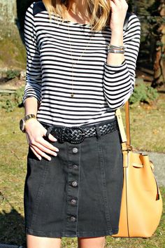 stripes and denim skirt