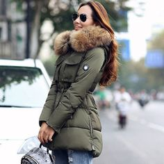 57d0264be08 TOP Quality Large Real Fur 2017 Winter Jacket Women Raccoon Fur Collar  Hooded Thick For Womens Jackets And Coats Winter Parka-in Parkas from  Women s ...