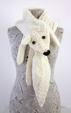 Hand knit fox scarf in white with polymer clay buttons