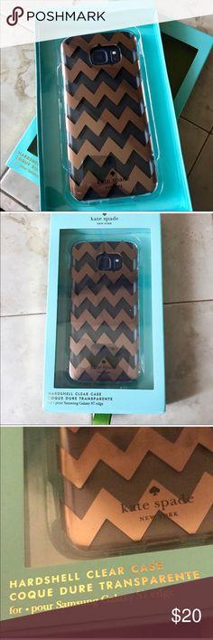 Kate Spade Samsung Galaxy S7edge case Samsung Galaxy edge phone case by Kate Spade. New in package. Bronze chevron design. Made by Incipio  Kate Spade Samsung Galaxy S7edge case kate spade Accessories Phone Cases
