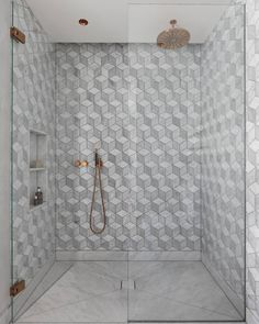 The result of our earlier experimentation with 3 different types of Carrara marble - patterned perfection #patterndesign #hexagonal #interiordesigner #interiordesignideas #design #bathroomdesign #houseproject #architects #londonarchitects #shower #dreaminteriors #interiorinspo