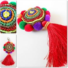 Items similar to Beauty Colorful Keychain, Beadwork, Pom poms and Tassel, Zip Pull, Bag Accessory Decoration Handmade. on Etsy Decorative Accessories, Bag Accessories, Diy And Crafts, Arts And Crafts, Pom Pom Crafts, Deco Boheme, Passementerie, Beaded Embroidery, Tassels