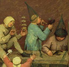 Kinderspiele / Children's Games, (detail of left section), Pieter Bruegel the Elder. Flemish Northern Renaissance Painter, (ca Medieval Games, Medieval Art, Blowing Bubbles, Renaissance Paintings, Renaissance Art, Pieter Brueghel El Viejo, Lascaux, Pieter Bruegel The Elder, Hieronymus Bosch