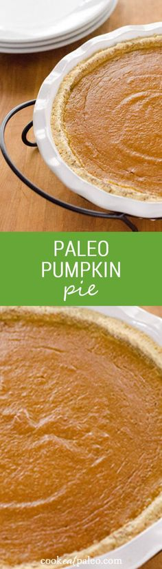 This paleo pumpkin pie is a quick and easy gluten-free pumpkin pie recipe for fall or Thanksgiving. It's grain-free, dairy-free, and refined sugar-free. ~ http://cookeatpaleo.com #pumpkinpie #glutenfreebaking