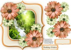 Beautiful Daisy s and Waterfall Scene  on Craftsuprint designed by Ceredwyn Macrae - A lovely Shaped Ca5rd to make and give to anyone with Beautiful Daisy's and a waterfall scene a lovely card has one greeting tag and a blank one , - Now available for download!