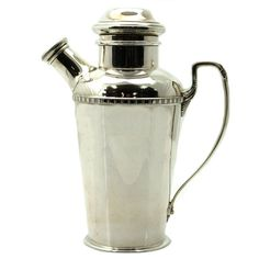 Pasarel - Art Deco Sterling Silver Cocktail Shaker By Adie Brothers, Birmingham, England, 1934. $1100.00