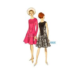"""Fresh and flirty! This mod dress pattern from Vogue will be just as stylish today as it was in the 60's - a great vintage sewing pattern to add to your collection: """"One-piece dress: Semi-fitted, flare"""