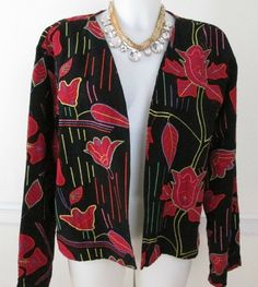 Chico's Black and Red Floral Appliqué Jacket Coat size XL #Chicos #BasicJacket