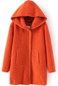 Orange Hooded Long Sleeve Pockets Coat