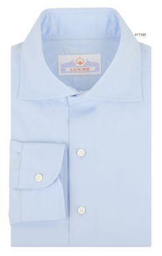 Pale Blue Poplin 2/100 dress shirt from Luxire: http://custom.luxire.com/products/pale-blue-poplin  Features: Cutaway collar and 1-button cuffs.